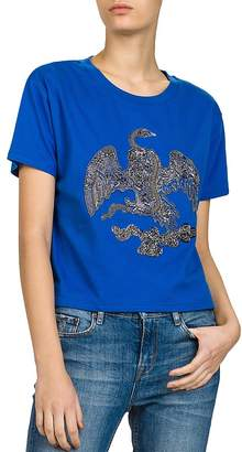 The Kooples Metallic Eagle Embroidered Tee