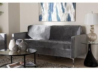 Baxton Studio Clara Modern and Contemporary Grey Velvet Fabric Upholstered 3-Seater Sofa