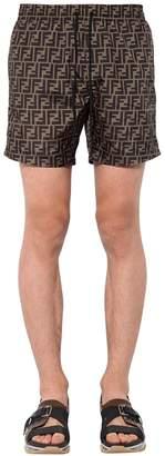 Fendi Nylon Logo Printed Swim Shorts