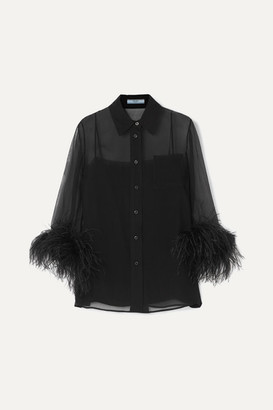 Prada Feather-trimmed Silk-georgette Blouse - Black