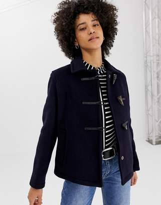 Gloverall Farlie short duffle coat in wool blend