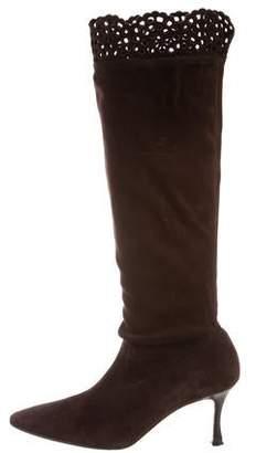 Manolo Blahnik Suede Mid-Heel Boots