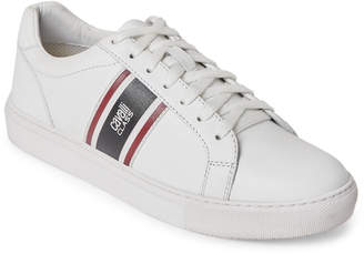Class Roberto Cavalli White Racer Stripe Leather Low-Top Sneakers
