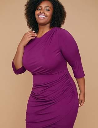 Lane Bryant Fast Lane Built-In Smoothing Slip Draped-Front Purple Sheath Dress