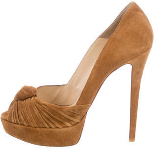 Christian Louboutin Christian Louboutin Suede Knot-Embellished Pumps