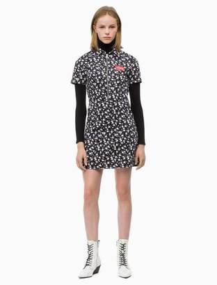 Calvin Klein floral logo short sleeve zip dress