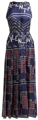 Valentino Chevron And Puzzle Print Silk Gown - Womens - Blue Print
