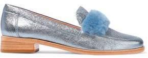 Loeffler Randall Greta Shearling-Trimmed Metallic Cracked-Leather Loafers
