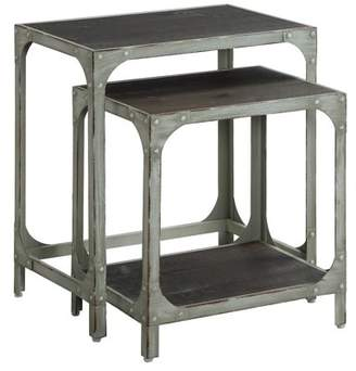 Crestview Collection Durham Rustic White Metal and Wood Nested Tables