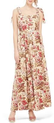 Gal Meets Glam Floral Print Tie Shoulder Cotton Maxi Dress