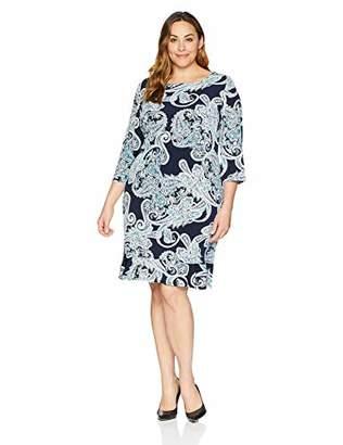 9a3642556a116 Sandra Darren Women s 1 PC Plus Size 3 4 Sleeve Printed ITY Puff Shift Dress