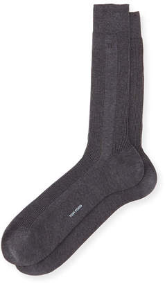 Tom Ford Basic Ribbed Knit Socks, Gray