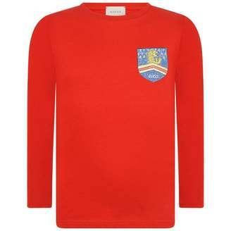 Gucci GUCCIBoys Red Long Sleeve Jersey Top