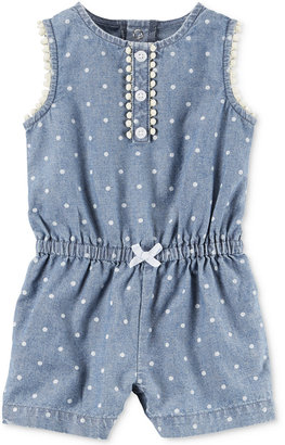 Carter's Dot-Print Chambray Romper, Baby Girls (0-24 months) $18 thestylecure.com