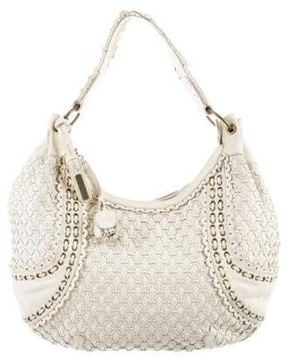 Isabella Fiore Grommet Whipstitched Leather Hobo
