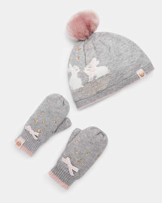 Ted Baker CLARIEE Bunny beanie and mittens set