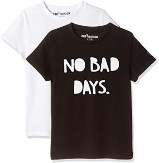 Kid Nation Kid's 2 Pack Cotton Jersey T-Shirts for Boys Or Girls XL
