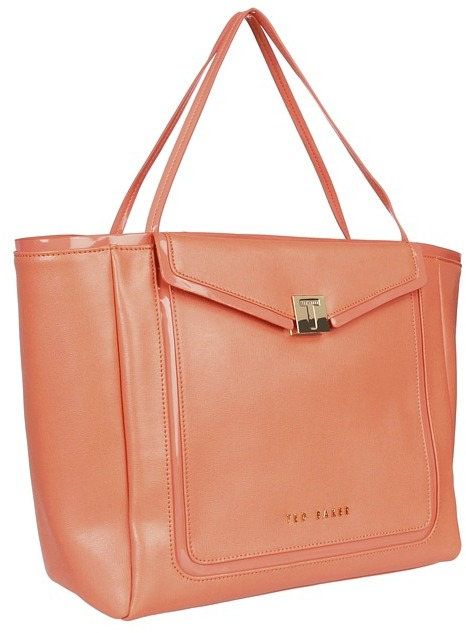 Ted Baker - Cherrii Crosshatch Pocket Shopper (Light Orange) - Bags and Luggage