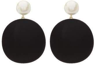 Diana Broussard Resin Pearl and Velvet Maxi Flocked Velvet Earrings