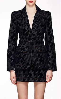 Fendi Women's Logo Denim & Velvet One-Button Blazer - Navy