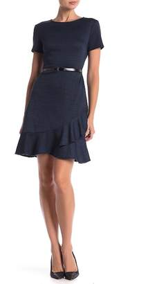London Times Plaid Belted Short Sleeve Dress