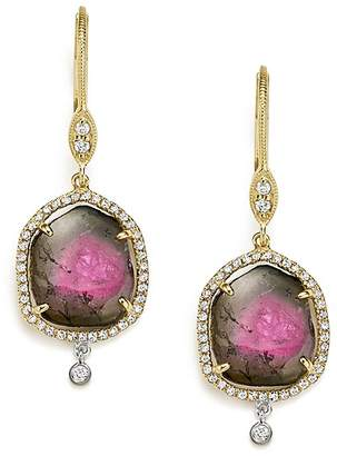 Meira T 14K White and Yellow Gold Diamond and Watermelon Tourmaline Drop Earrings