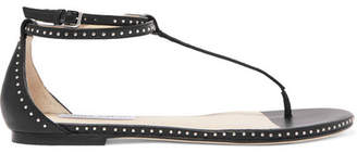 Jimmy Choo Afia Studded Leather Sandals - Black