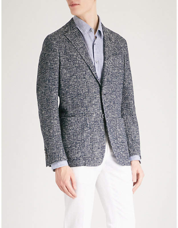 Basketweave slim-fit cotton jacket