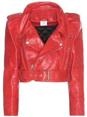 Vetements Cropped leather jacket