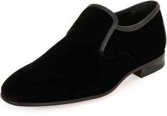 Salvatore Ferragamo Men's Velvet & Stingray Formal Loafer, Black