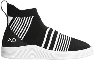Striped Knit Slip-On Mid Top Sneakers