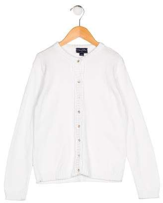 Oscar de la Renta Girls' Knit Button-Up Cardigan