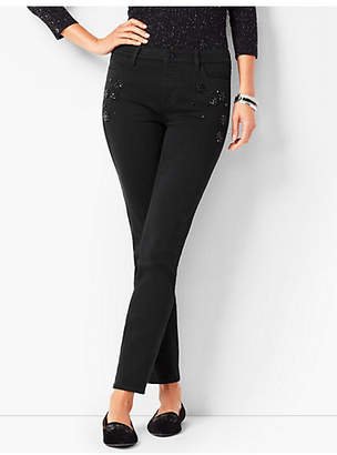 Talbots Crystal Embellished Slim Ankle Jeans - Never Fade Black