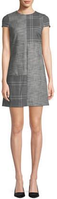Alice + Olivia Coley Check Cap-Sleeve Mini Dress