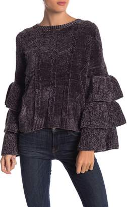 Elan International Tiered Ruffle Sleeve Sweater