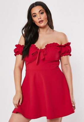 e6dd236155d Missguided Plus Size Red Milkmaid Skater Dress
