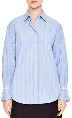 Sandro Sociologie Embellished Cuff Striped Shirt