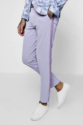 boohoo Skinny Fit Suit Trousers With Velvet Taping