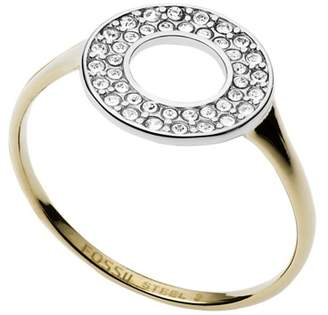 Fossil Two-Tone Steel And Glitz Ring jewelry