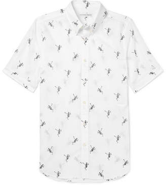 Alexander McQueen Brad Slim-Fit Button-Down Collar Printed Cotton-Poplin Shirt