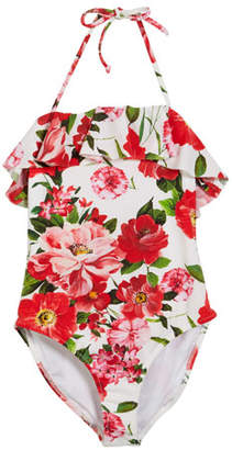 Milly Minis Rose-Print Ruffle Top One-Piece Swimsuit, Size 4-6