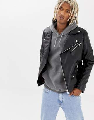 Bershka Faux Leather Biker Jacket In Black