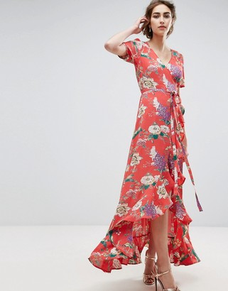 ASOS Maxi Tea Dress with Ruffle Detail in Floral Print $76 thestylecure.com