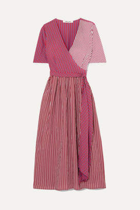 Diane von Furstenberg Paneled Striped Poplin Wrap Dress - Pink