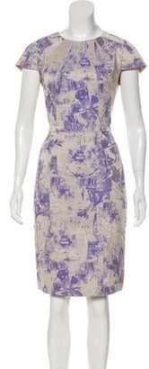 Lela Rose Short Sleeve Knee-Length Dress Beige Short Sleeve Knee-Length Dress