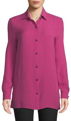 St. John Long-Sleeve Button-Front Silk Georgette Blouse w/ Side Slits