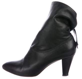 Brian Atwood Leather Fold-Over Booties