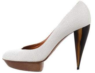 Lanvin Leather Perforated Pumps