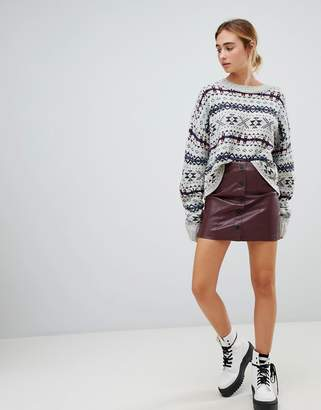 Pull&Bear button front pu skirt