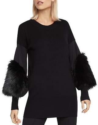 BCBGMAXAZRIA Faux-Fur-Cuff Tunic Sweater